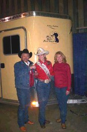 Bob and Paulette present trailer to Ashley Andrews, Miss Rodeo North Dakota